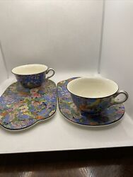 Crown Ducal Ware England 1185 Teacup Holder With Tray Blue Chintz Fine Porcelain