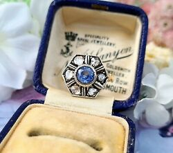 Vintage Art Deco 14ct Gold Sapphire And Rose Cut Diamond Hexagonal Cluster Ring