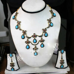 925 Sterling Silver Diamond Turquoise Necklace Set Rose Cut Victorian Style Gift