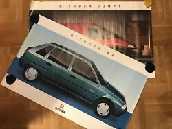 Two Vintage Citroen Jumpy And Ax Car Advertising Dealer Posters French Color Print