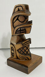 Jack Stogan Musqueam First Nations Beaver Carved Wooden Totem Pole
