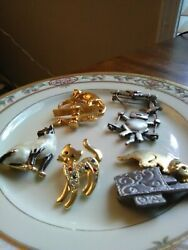Lot 5 Vintage Cat Brooch Pins Signed: Ultra Craft JJ and Avon Movable Parts