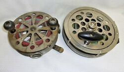2 Large Pflueger Fishing Reels Antique Taxie And Sal Trout 1558 1950's