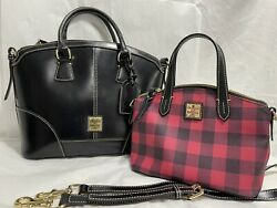 Pair Of Dooney and Bourke Shoulder Bags Black And Red and black Checkered $150.00