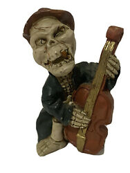 Halloween Day Of The Dead Figurine Musican Skeleton Base Player Resin Vintage 4quot;