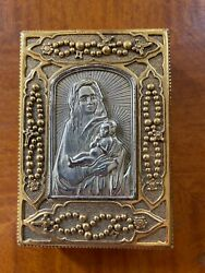 Vatican Collection Religious Metal Rosary Box Virgin Mary And Baby Jesus And Prayers