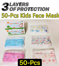 50 PCS Kids Children Animal Print 3 Ply Disposable Face Mask Earloop Mouth Cover