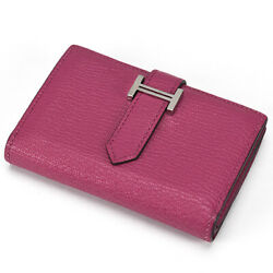 Hermes Bean Mini Compact Wallet Two Folded Wallets Coin Case Purses Card Cas