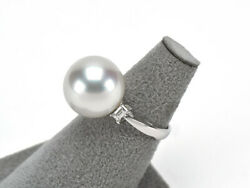 Pt900 Fashion Ring White Butterfly Pearls 15.2mm Large Part Pearl Diamond 0.