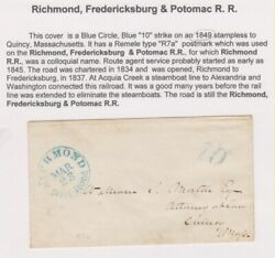 Richmond Rail Road Blue Cds Towle-meyer 305-a-1 And 10 Hs Cover To Ma Letter
