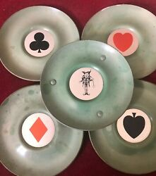 Art Deco Metal Enamelled Playing Cards Dishes With 4 Card Suits And Joker