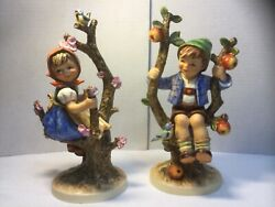 Large Hummel Apple Tree Boy And Girl Pair Tmk 5 Hand Painted Germany 10.7andrdquo Tall