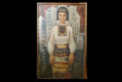 Vintage Painting Girl In A Costume 1970s 132x84 Cm. Bulgaria
