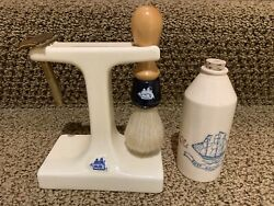 Old Spice Ceramic Stand With Razor And Brush Bottle