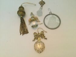 Vintage Christmas Ornaments Lot 5 Gold and Glass