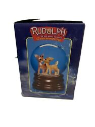 Rudolph The Red Nosed Reindeer Musical Snow Globe Enesco 2000 Vintage Christmas