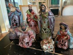 Vtg Ceramic Bisque African-american Black Nativity Set With Jewels 6 Pieces 10