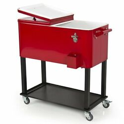 Patio/deck Rolling Cooler W/cart- Outdoor/home 65 Qt. Solid Steel Construction