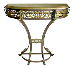 Victorian Iron And Bronze Dragon Demilune Console Table Attributed To Oscar Bach