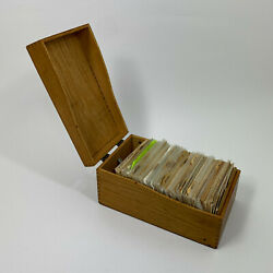 Large Wood Hedges Dovetail Recipe Box Full Of Recipes Hand Written Vintage