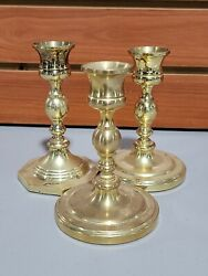 """Vintage Baldwin Brass Christmas Candle Stick Holders Set Of 3 Made In Usa 5""""tall"""