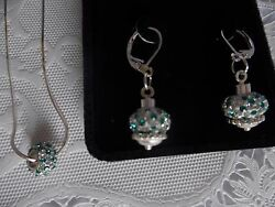 Sterling Silver and Crystal Necklace and Earring Set Fine Jewelry GREAT GIFT $28.99