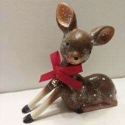 Vintage White Spotted Deer Reindeer Figurine Xmas Glitter Red Bow And Bell