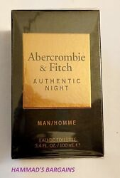 Abercrombie And Fitch Authentic Night Edt 3.4 Oz / 100 Ml For Men Nib Sealed