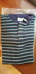 Ll Bean Mens Striped Thermal Waffle Henley Size M $34.50