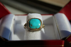 Beautiful Sterling Silver and Gold Gerochristo Turquoise Ring SZ6 $230.00
