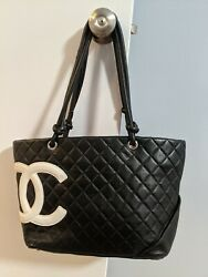 Authentic CHANEL CC Logo Cambon Tote Shoulder Bag Leather Black And White $1600.00