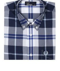fred perry new woven plaid button down shirt $44.00