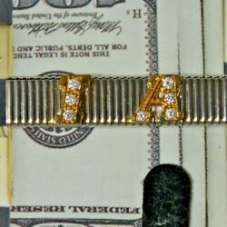 Vintage Grandband Sterling Silver Customized Money Clip With 14k Gold Letters