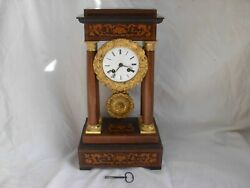 Antiques French Inlaid Wood Portico Clockcharles X Style19th Century.