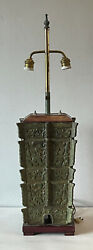 Antique Solid Bronze Chinese Asian Modern Table Lamp 1960s Vintage James Mont