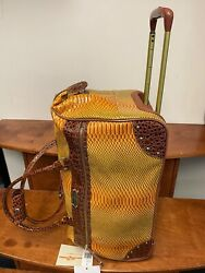 New Samantha Brown Rolling Embossed Wheeled Weekender Ombre Yellow Color