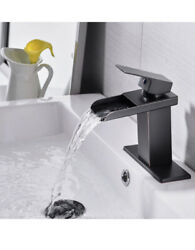 Bwe Bronze Bathroom Faucet Waterfall For Sink 1 Hole Farmhouse Oil Rubbed
