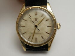 Genuine Rolex 50and039s Antique 14k Gold Top Steel 32mm 4444 Hand Winding Bubbleback