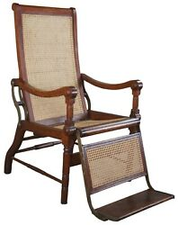 Antique British Colonial 1830s Caned Oak Reclining Mechanical Dental Arm Chair