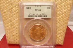 1893 10 Liberty Gold - Pcgs Ms-61 Old Green Holder And Premium Quality