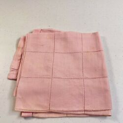 Vintage Tablecloth Square Pink Linen Eyelet 30x30 Retro Classic Traditional