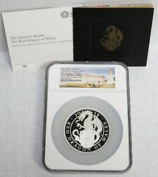 2018 Silver Great Britain 5 Oz 750 Minted Queens Beast Dragon Of Wales Ngc Pf 69