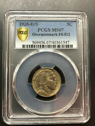 1938d/s Mint Buffalo 5 Cent Nickel. Pcgs Ms67 Overmintmark Ommfs - 512 Top Pop