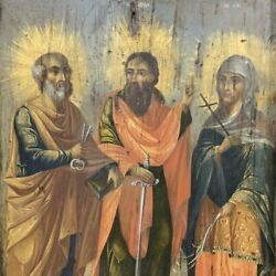 Antique 16th Original Italian Oil Painting On Tablet Iconography Three Saints