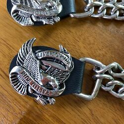 4pc Double Chain Motorcycle Vest Extenders Live To Ride Ride To Live Eagle Snap