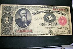 1891 1 One Dollar Bill Red Seal Treasury Note -