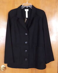 Chicos Size 3 Black Boiled Wool Button Front Jacket Coat