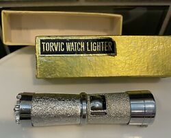 Vintage 1960s Torvic Swiss Watch And Cigarette Lighter Original Box Hollywood Glam