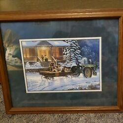Vtg John Deere Tractor Art Picture Winter Signed Numbered Wood Frame Wall Decor
