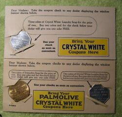 3 Palmolive Cake Soap Tokens Paper Advertisement Rare W/ Envelope And Cards 1927